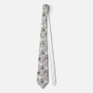 Blushing White Roses Wedding Tie