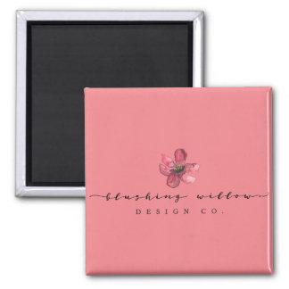 Blushing Willow Design Co. Magnet, Pink Square Magnet