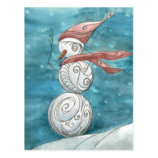 Blustery Snowman Postcard