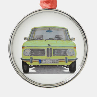 BMW 2002 lime green Silver-Colored Round Decoration