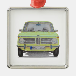 BMW 2002 lime green Silver-Colored Square Decoration