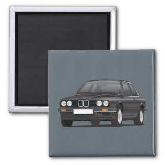 BMW E30 (3-serie) black Square Magnet