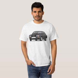 BMW E30 (3-series), black illustration, t-shirt
