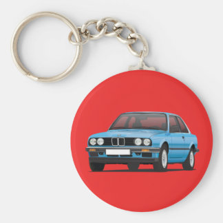 BMW E30 silver blue Key Ring