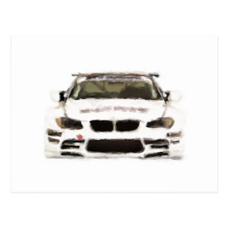 BMW M3 Racing Car Hand Painted Art Brush Template Post Card