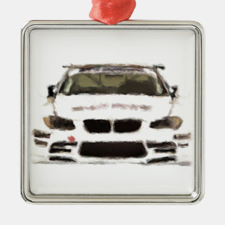 BMW M3 Racing Car Hand Painted Art Brush Template Silver-Colored Square Decoration