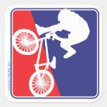 BMX Biker Red White and Blue Square Sticker