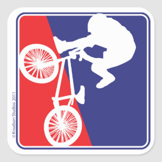 BMX Biker Red White and Blue Square Sticker