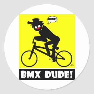 BMX DUDE-18 CLASSIC ROUND STICKER
