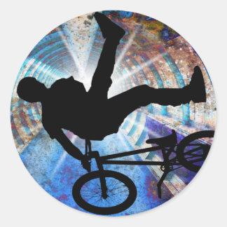 BMX in a Grunge Tunnel Classic Round Sticker