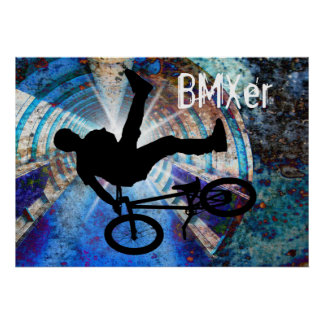 BMX in a Grunge Tunnel Poster