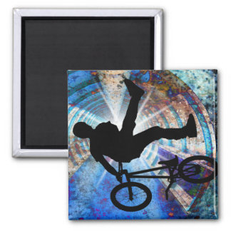 BMX in a Grunge Tunnel Square Magnet
