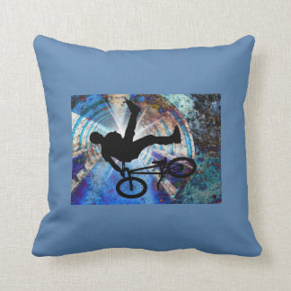 BMX in a Grunge Tunnel Throw Pillow