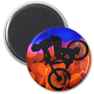 BMX in Light Crystals and Lightning 6 Cm Round Magnet