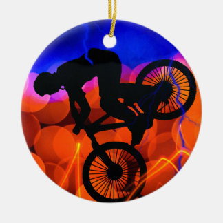 BMX in Light Crystals and Lightning Christmas Ornament