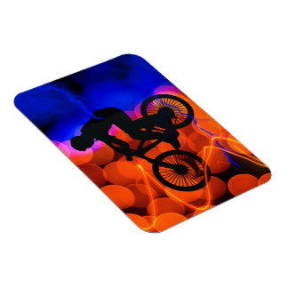 BMX in Light Crystals and Lightning Rectangular Photo Magnet