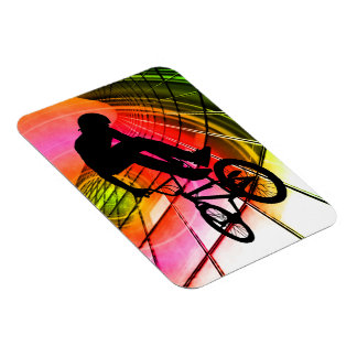 BMX in Lines and Circles Rectangular Photo Magnet