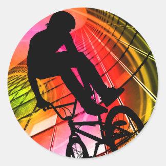 BMX in Lines & Circles Classic Round Sticker