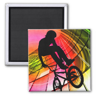 BMX in Lines & Circles Square Magnet