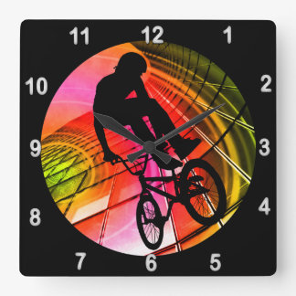 BMX in Lines & Circles Square Wall Clock