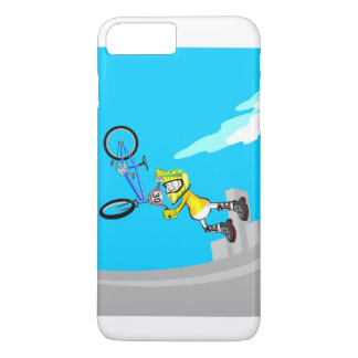 BMX intrepid young cycling jumping by the air iPhone 8 Plus/7 Plus Case