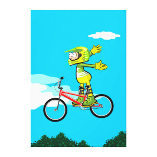 BMX loose young cycling of hands in its bicycle Canvas Print