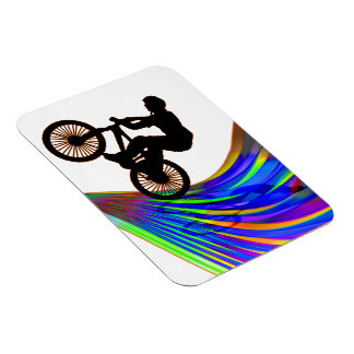BMX on a Rainbow Road Rectangular Photo Magnet