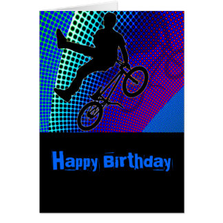 BMX on Fractal Movie Marquee Greeting Card
