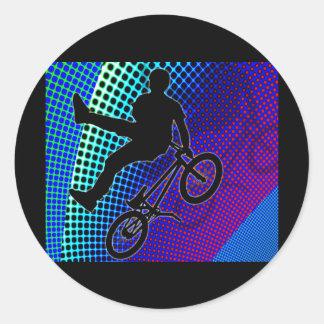 BMX on Fractal Movie Marquee Round Sticker