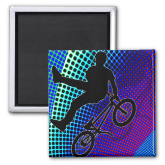 BMX on Fractal Movie Marquee Square Magnet