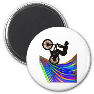 BMX on Rainbow Road 6 Cm Round Magnet