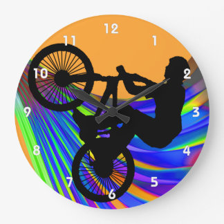 BMX on Rainbow Road Large Clock