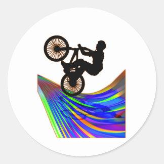 BMX on Rainbow Road Round Sticker