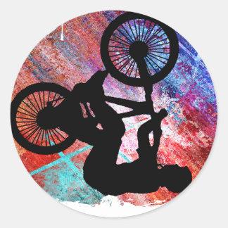 BMX on Rusty Grunge Round Sticker