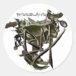 BMX personalizable brown Round Sticker