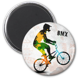 BMX Rider in Abstract Paint Splatters SQ WITH TEXT 6 Cm Round Magnet