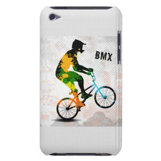 BMX Rider in Abstract Paint Splatters SQ WITH TEXT Barely There iPod Cases