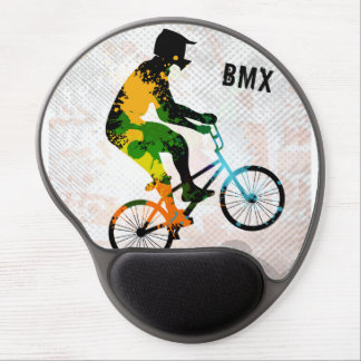 BMX Rider in Abstract Paint Splatters SQ WITH TEXT Gel Mouse Mat