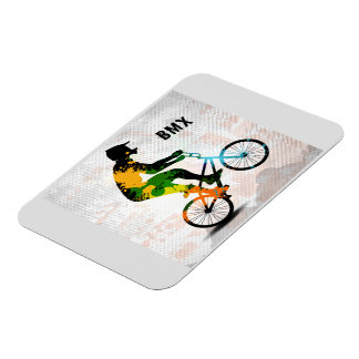 BMX Rider in Abstract Paint Splatters SQ WITH TEXT Rectangular Photo Magnet