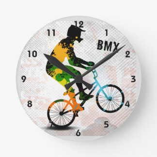 BMX Rider in Abstract Paint Splatters SQ WITH TEXT Round Clock