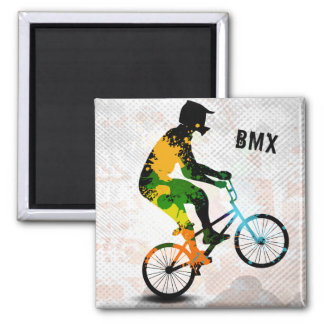 BMX Rider in Abstract Paint Splatters SQ WITH TEXT Square Magnet