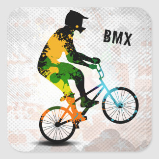 BMX Rider in Abstract Paint Splatters SQ WITH TEXT Square Sticker