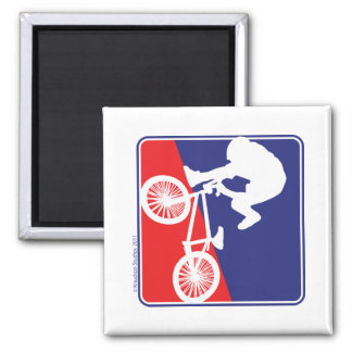 BMX Rider in Red White and Blue Fridge Magnets