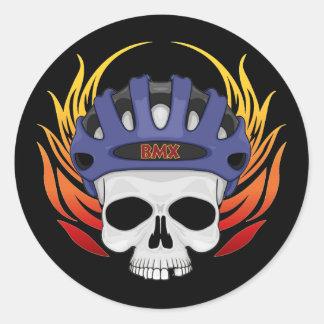 BMX Skull Classic Round Sticker