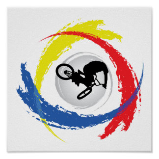 BMX Tricolor Emblem Poster