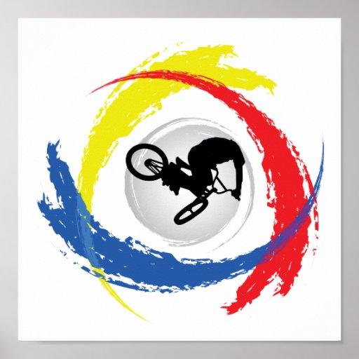 BMX Tricolor Emblem Print