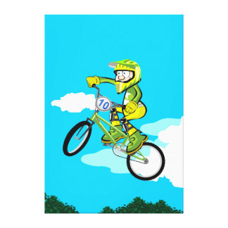 BMX young cycling in its bicycle turning Canvas Print