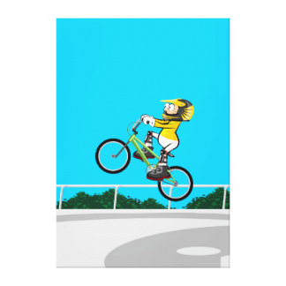 BMX young cycling taking impulse in its bicycle Canvas Print