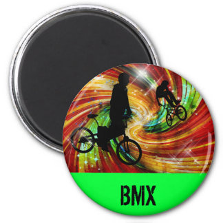 BMXers in Red and Orange Grunge Swirls 6 Cm Round Magnet