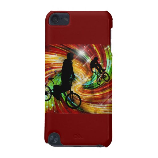 BMXers in Red and Orange Grunge Swirls iPod Touch 5G Covers